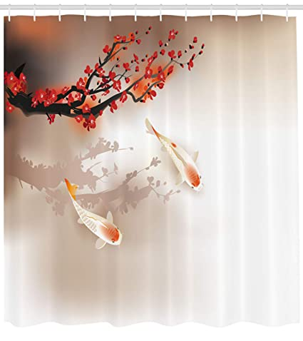 Lunarable Koi Fish Shower Curtain By Sakura Branch And Leaves Sacred Animals In Small Body
