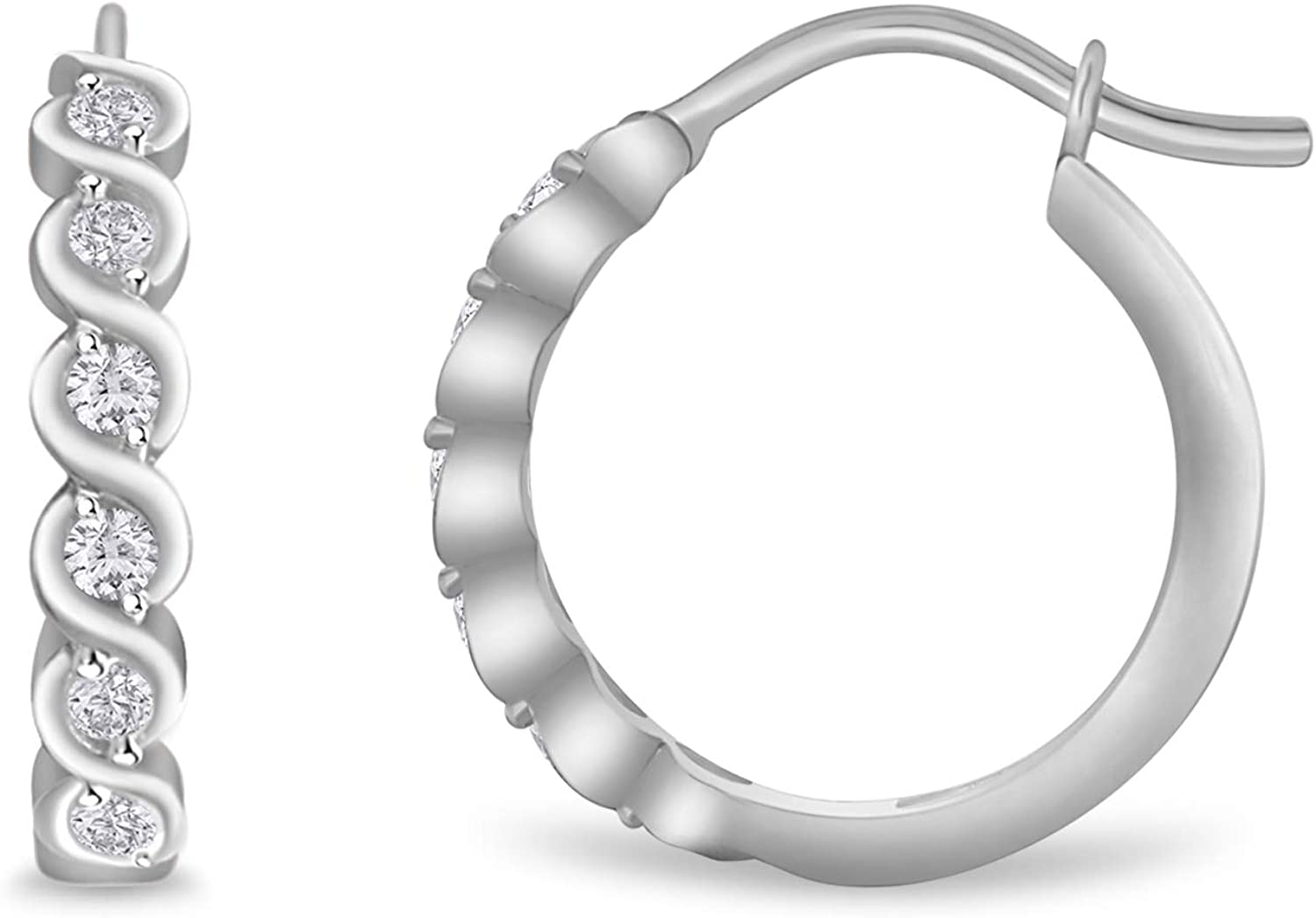 SHIP WITHIN 24hrs 0.60Ct Round Cut Huggie Hoop Earrings 14K White Gold Over