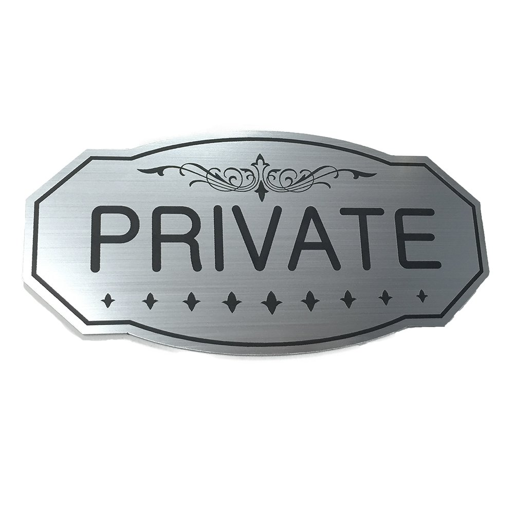 """PRIVATE Door / Wall Sign (Brushed Silver) Medium 4"""" x 8"""""""