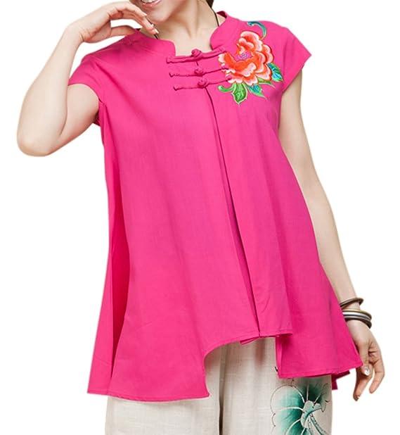 100% lino, hecho a mano algodón Blusa oberhemden – Marrakesch chinos bordado sintética #