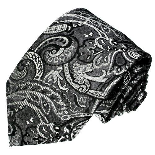 LORENZO CANA - Italian Silk Tie Black White Paisley Jacquard Necktie - 36007 ()