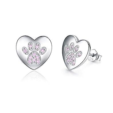 Dog Heart Stud Earrings Girls Ladies 925 Sterling Silver Black Paw Print Cat