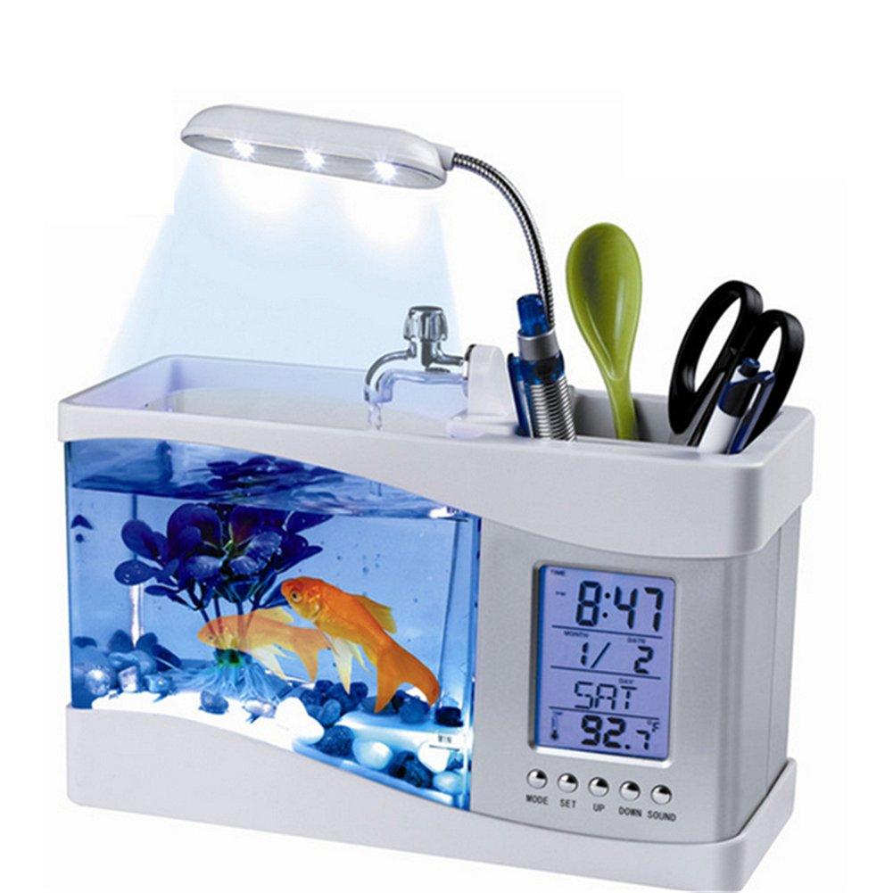 Yunt Fish Bowls Mini Desktop Aquarium USB Fish Tank LCD Desktop Lamp With Clock Alarm White