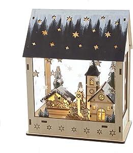 Kurt S. Adler Kurt Adler 9.5-Inch Battery-Operated Wooden Light Up House with Village Scene Table Piece, Multi