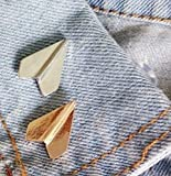 Brand New Set of 2 Platinum Plated Paper Airplane Origami Brooch Lapel Pins (Silver & Gold)