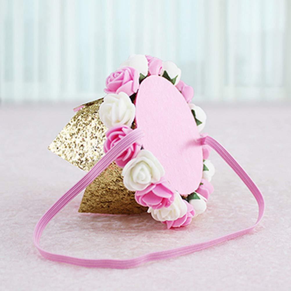 Liding Tiara de Princesa beb/é de 1 Pulgada Primera Tiara de Princesa con Corona y Sombrero de Primer cumplea/ños para ni/ños con Pieza de Destello Dorado y decoraci/ón de Rosas Rosas Blancas y Rosadas