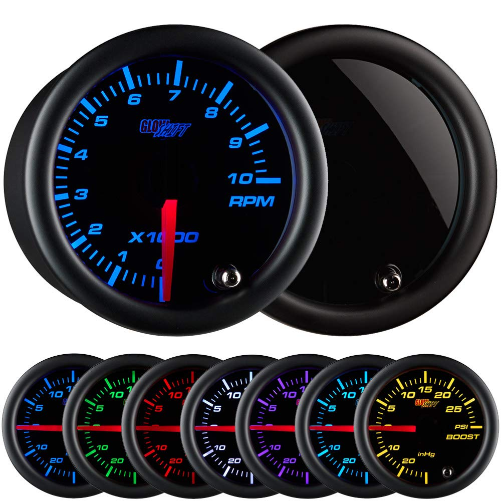 GlowShift Tinted 7 Color 10,000 RPM Tachometer Gauge - for 1-10 Cylinder Gas Powered Engines - Black Dial - Smoked Lens - 2-1/16'' 52mm by GlowShift