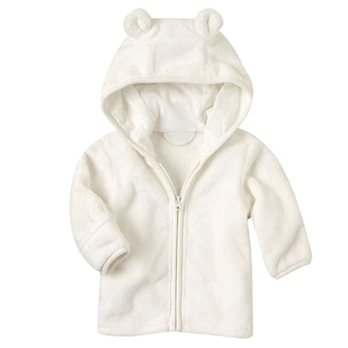233d2b971 FUNOC Winter Warm Coat Jacket Micro Fleece Hoodie Zip up Clothes for 3-24  Month Baby Girls Boys Infant Toddler