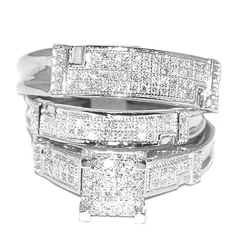 rings-midwestjewellery. com de la mujer Oro blanco boda Trio Set Wo anillos Real
