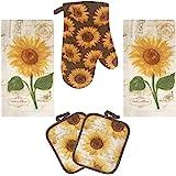 Lobyn Value Packs Golden Sunflower Kitchen Towel 5 Piece Linen Set 2 Towels 2 Pot Holders 1 Oven Mitt