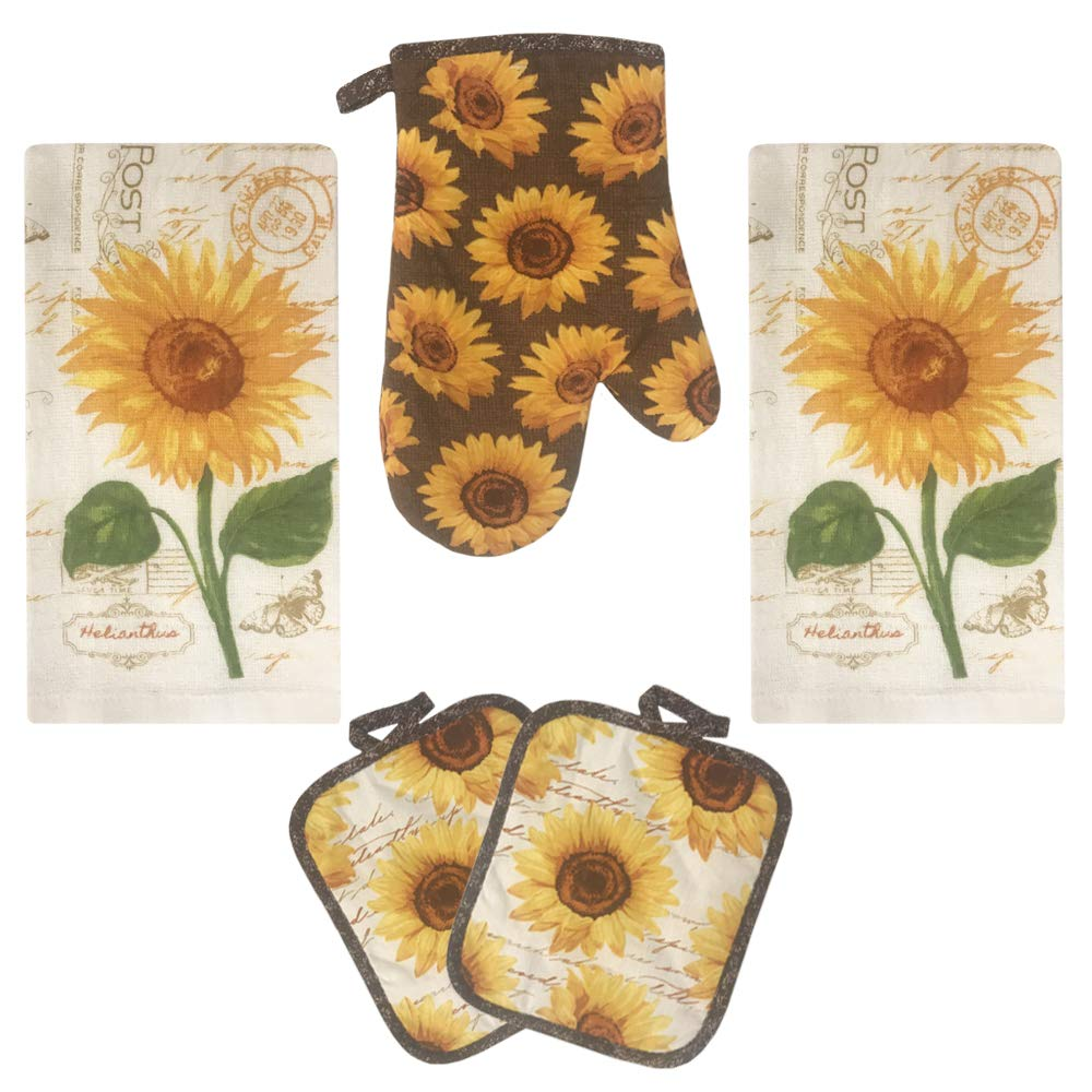 Lobyn Value Packs Golden Sunflower Kitchen Towel 5 Piece Linen Set 2 Towels 2 Pot Holders 1 Oven Mitt