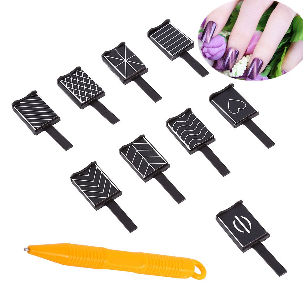 10 Pcs/Set 9 Styles 3D Magnet Cat Eyes Stick for Nail Art Polish Gel Magical Nail Tool ZJchao