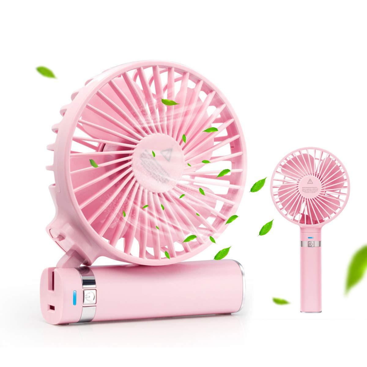 Yigou Hand Held Fan, USB Mini Fan Personal Portable Fan 2600mAh Rechargeable Battery Operated 3 Speed Adjustable Quiet Desk Folding Fan for Office Home Outdoor Travel