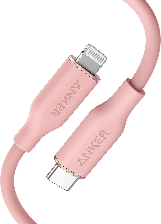Anker PowerLine Ⅲ Flow USB-C & ライトニング ケーブル MFi認証 PD対応 シリカゲル素材採用 iPhone 12 / 12 Pro / 12 Pro Max/AirPods Pro 各種対応 (0.9m コーラルピンク)