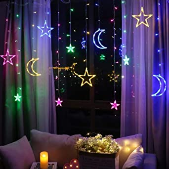 CDXK Luz decorativa Luna Estrella Lámpara Led Lámpara Cuerda Ins Luces De Navidad Luz España Lámpara Cortina Boda Linterna Neón China Rgb: Amazon.es: Iluminación