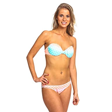 e688d6aba4fd0 Ava Swimwear The Rounded Bandeau with Cinched Bottom 'Mermaid Peach' Orange  Lycra Bikini Bottom