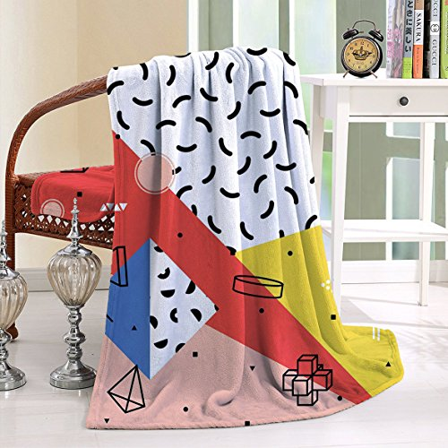 HAIXIA Blanket Modern Geometric Trippy Figures Triangles Cubes Circles Rollers Dots Artful - Mall Triangle Nc