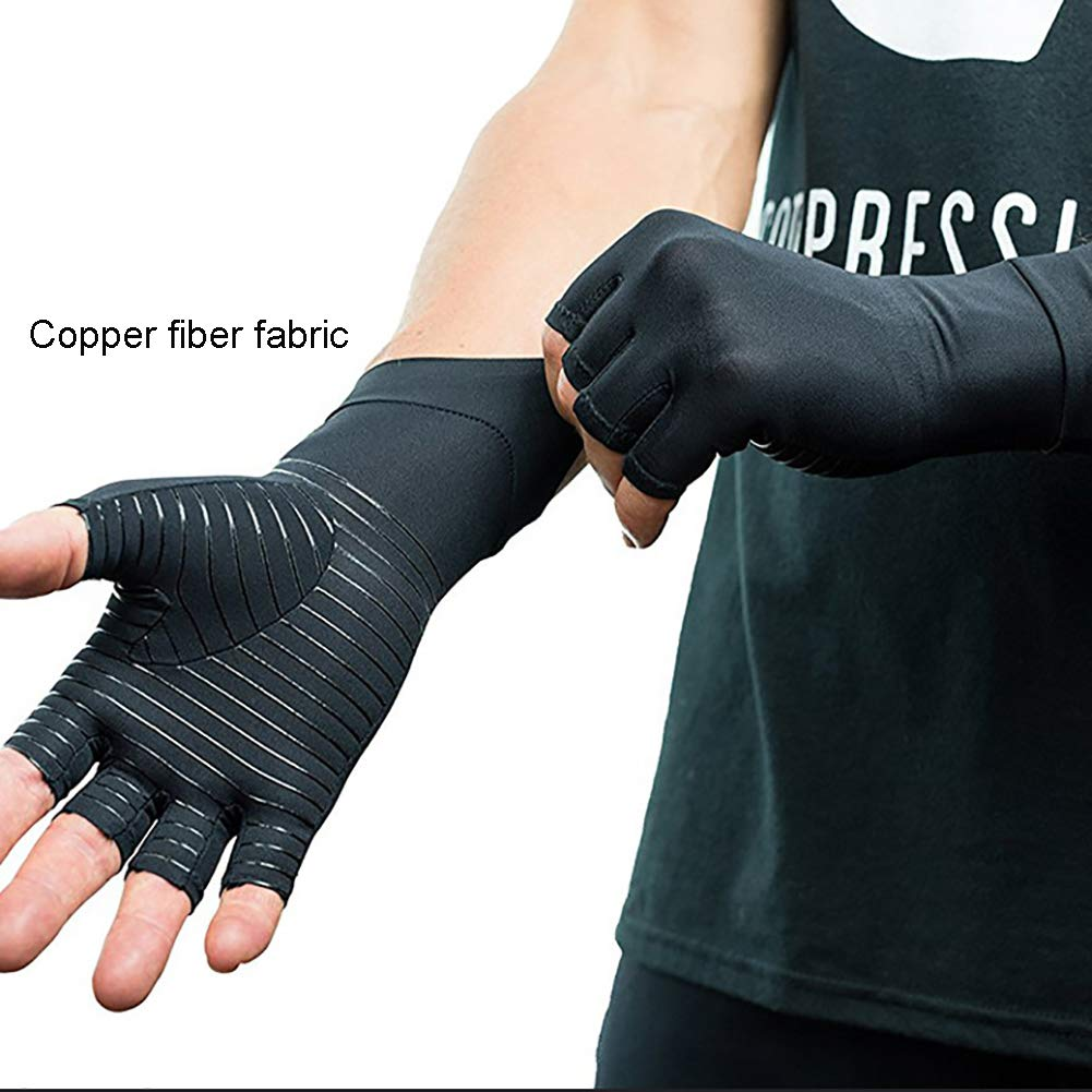 Arthritis Gloves Compression Copper Highest Copper Content. Best Copper Infused Fit Glove for Carpal Tunnel, Computer Typing, and Everyday Support Hands and Joints,M