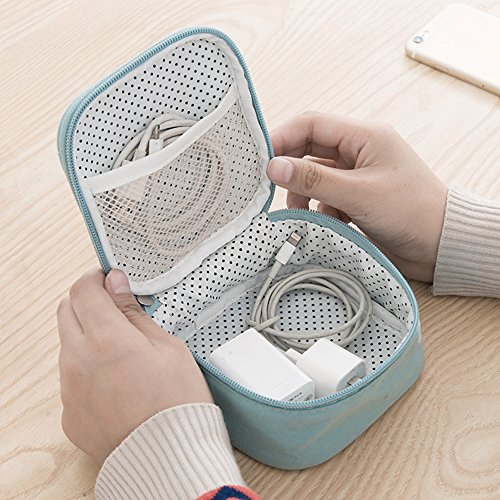 HaloVa Travel Gadget Organizer Universal Travel Case for Small Electronics and Accessories, Multifunction Portable Travel Toiletry Bag Cosmetic Makeup Pouch, Light Blue