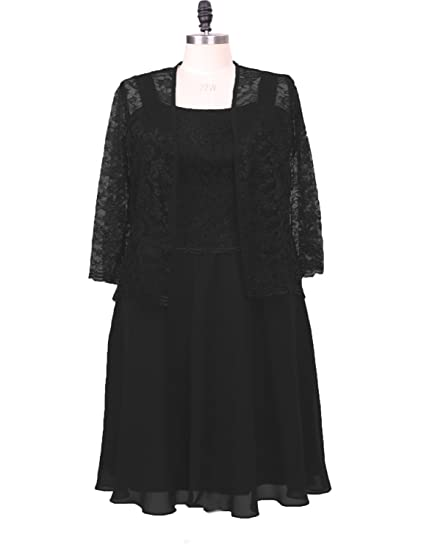 with Jacket Mother of The Bride Dresses with Long Sleeve Evening Gowns Black Size 6