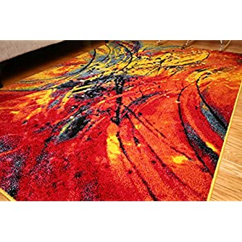 Radiance ant6005_6x8 Art Collection Contemporary Modern Splat Wool Area Rug, 5'2 x 7'3, Multicolor