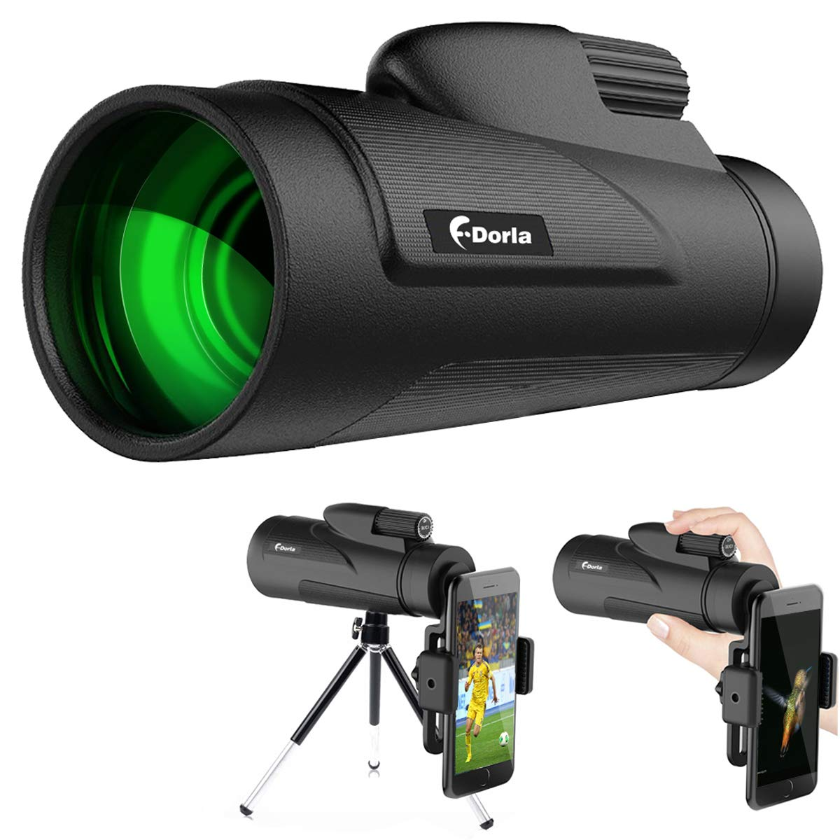 12X50 Monocular Telescope, F.DORLA High Power Prism Low Night Vision Waterproof Fogproof Spotting Scope for Adults with Cell Phone Adapter and Tripod for Bird Watching Hunting Camping (Style1) by F.DORLA
