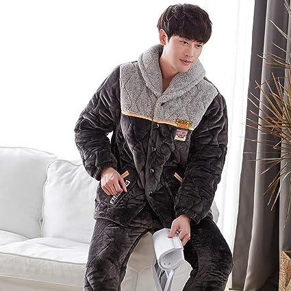 GZZ Conjunto De Pijamas Camisones Ropa De Dormir Ropa De Noche Hombre Forro Polar De Coral