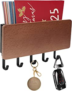WINCANG Key Holder for Wall with 5 Key Hooks,Mini 7 Inch Wall Mount Mail Letter and Key Rack Holder Organizer,Key Hook Hanger for Entryway Kitchen Bathroom Door Home Decor,Brown (Black)