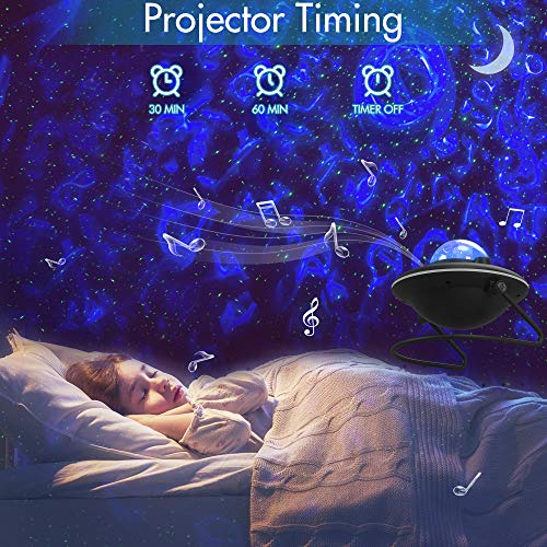 LED Galaxy Projector Light, Rotating Ocean Wave Nebula Moon Star Projector, RGB Color Changing Night Lights, Bluetooth Music Player&Timer, Ambiance Lamp Gifts for Kids Bedroom Adults Room Home Decor