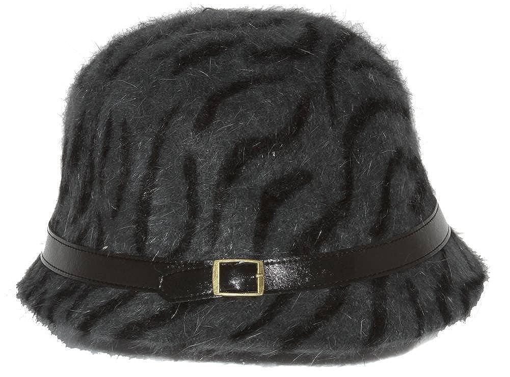09e91df67ce01 Ladies Angora Animal Print Cloche Hat, Dark Gray at Amazon Women's Clothing  store: