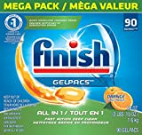 Finish All in 1 Gelpacs Orange 90 Tabs, Automatic Dishwasher Detergent Tablets