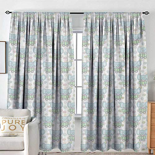 Rod Pocket Curtains Elephant,Cute Elephants in Trailers Cartoon Style Kids Pattern on Doodle Dots and Stripes,Multicolor,Insulating Room Darkening Blackout Drapes for Bedroom -