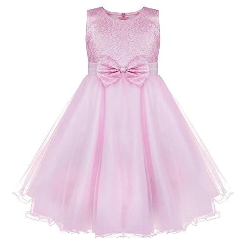 Pink flower girl dresses amazon yizyif girls flower sequined dress sleeveless formal party wedding bridesmaid christening dresses ages 2 14 mightylinksfo