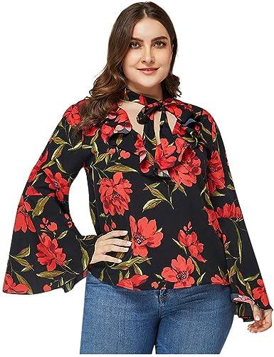 Damen Sweatshirt Camisa de Gasa con Estampado de Flores y Escote en V para Mujer, Vestido de Noche con Estampado de Flores: Amazon.es: Jardín