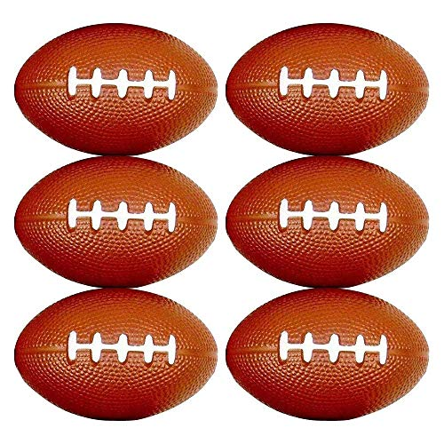 Balls Squeezable (Closeoutservices Set of 6 - Mini Football Shaped Stress Relief Colorful Squeezable Toys.)