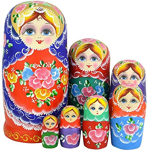 Leegoal New Set of 7pc Nesting Dolls Authentic Russian Woode