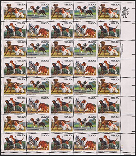 Hound Postage (American Dogs ~ AKC ~ Beagle, Terrier, Retriever Spaniel, Malamute, Collie, Coonhound, Foxhound #2101 Complete sheet of 40x20¢ US Postage)