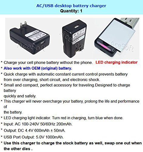 USA New 3200mAh Extra Standard Rechargeable 3.8V Battery with Portable USB Charger for MetroPCS Motorola Moto E4 XT1765 Smartphone
