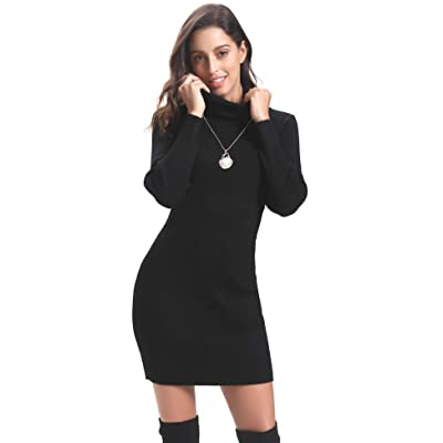Abollria Women Long Sleeve Turtleneck Knit Stretchable Elasticity Sweater Bodycon Dress at Amazon Women's Clothing store