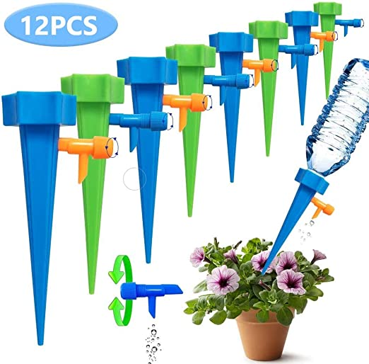 12pcs Plant Self Watering Spikes Adjustable Automatic Drip Irrigation System UK