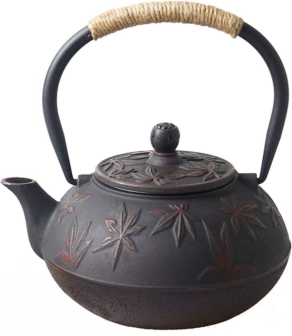Hwagui - Best Cast Iron Teapot with Stainless Tea Infuser for Loose Leaf Tea and Tea Bags, Red Tea Kettle 800ml/27oz