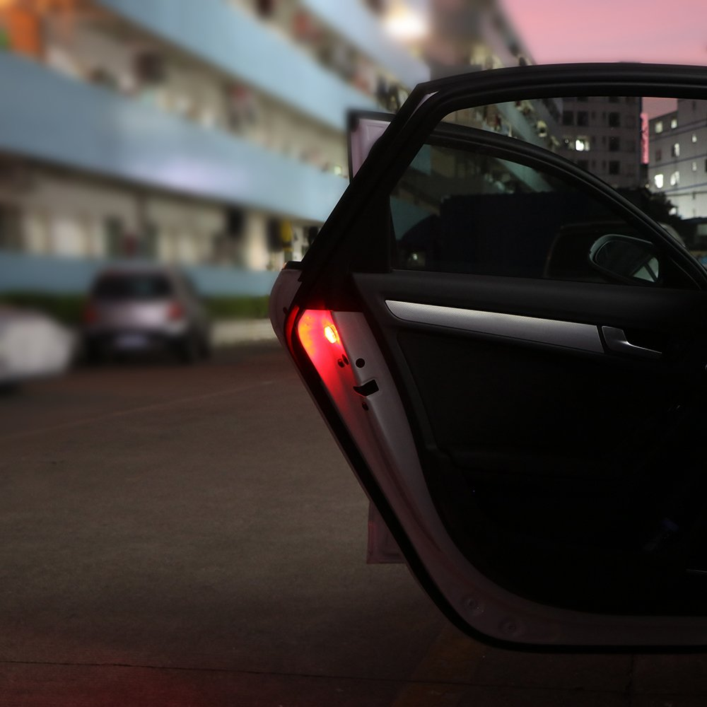 Universal Waterproof Lights Anti-collision Burst Safety Flammable Car Warn Lamp Red TiooDre 2X LED Car Door Warning Light