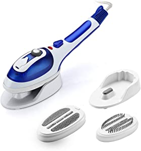 Portable Travel Clothes Steamer Iron, Hanging/Flat Handheld Garment Steamer and Steam Iron with 2 Brushes, Handy Clothes Steamer, TemperatureControl, Heated up Fast, Home and Travel