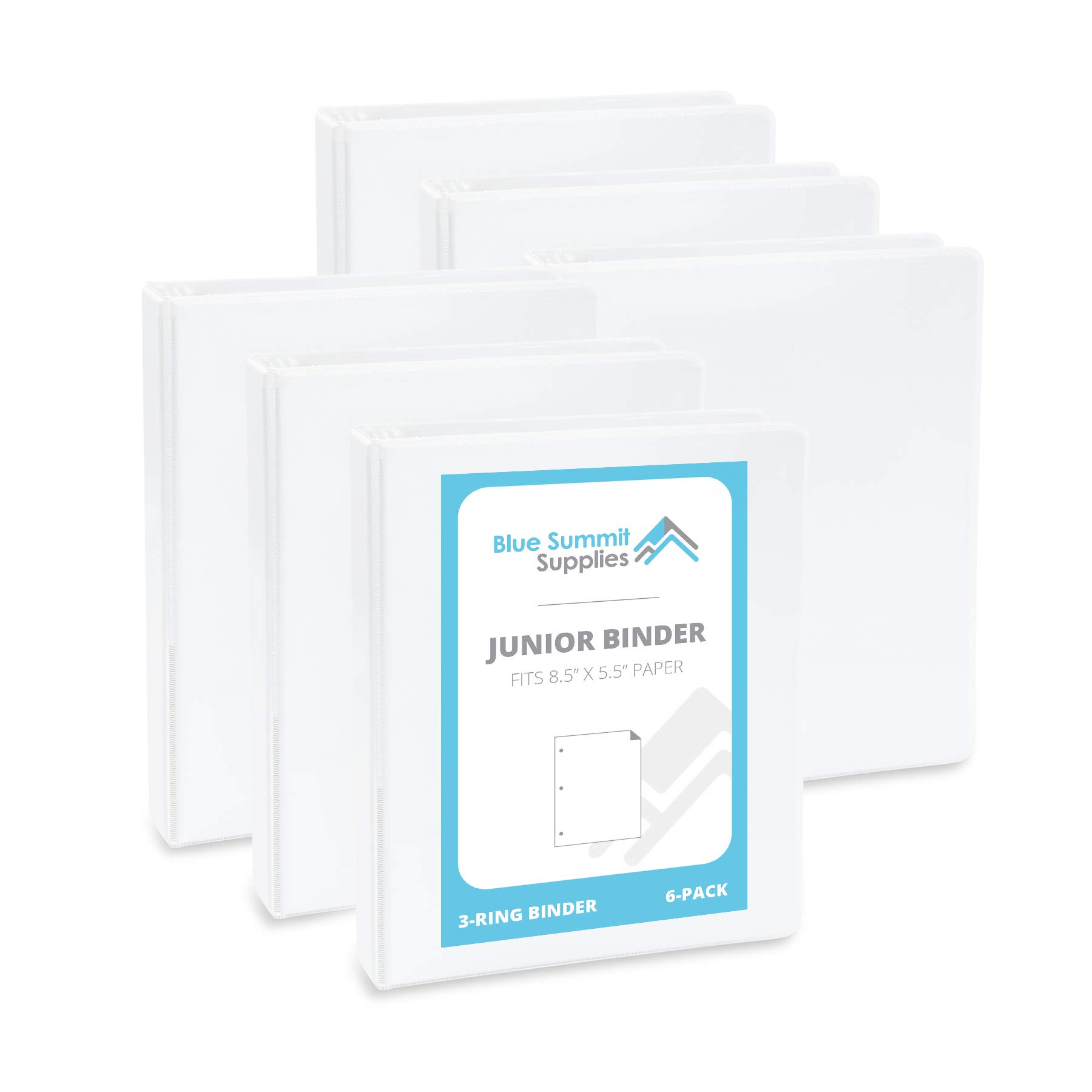 Blue Summit Supplies Mini 3-Ring Binder, Junior 1 Inch Mini Binder, Small 3-Ring Binder, Small Size Fits 5 1/2 x 8 1/2 Binder Paper, Set of Small Binders Ideal for Playbills or Planner, White, 6 Pack by Blue Summit Supplies