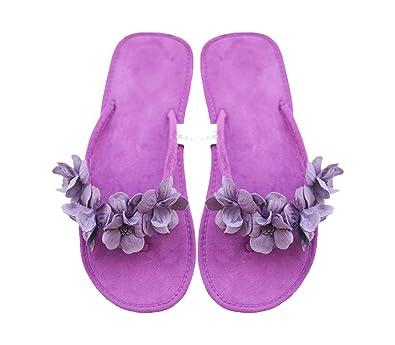 2da65d2940b36 Chic-Mild Handmade Purple Flowers Classical Comfortable Lady Flat ...