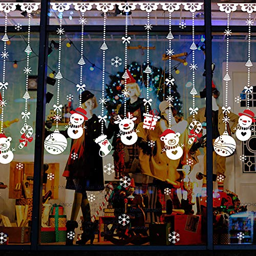 Christmas Windows Stickers White Reindeer Removable Vinyl DIY Wall Window Door Mural Decal Sticker for Showcase (A)