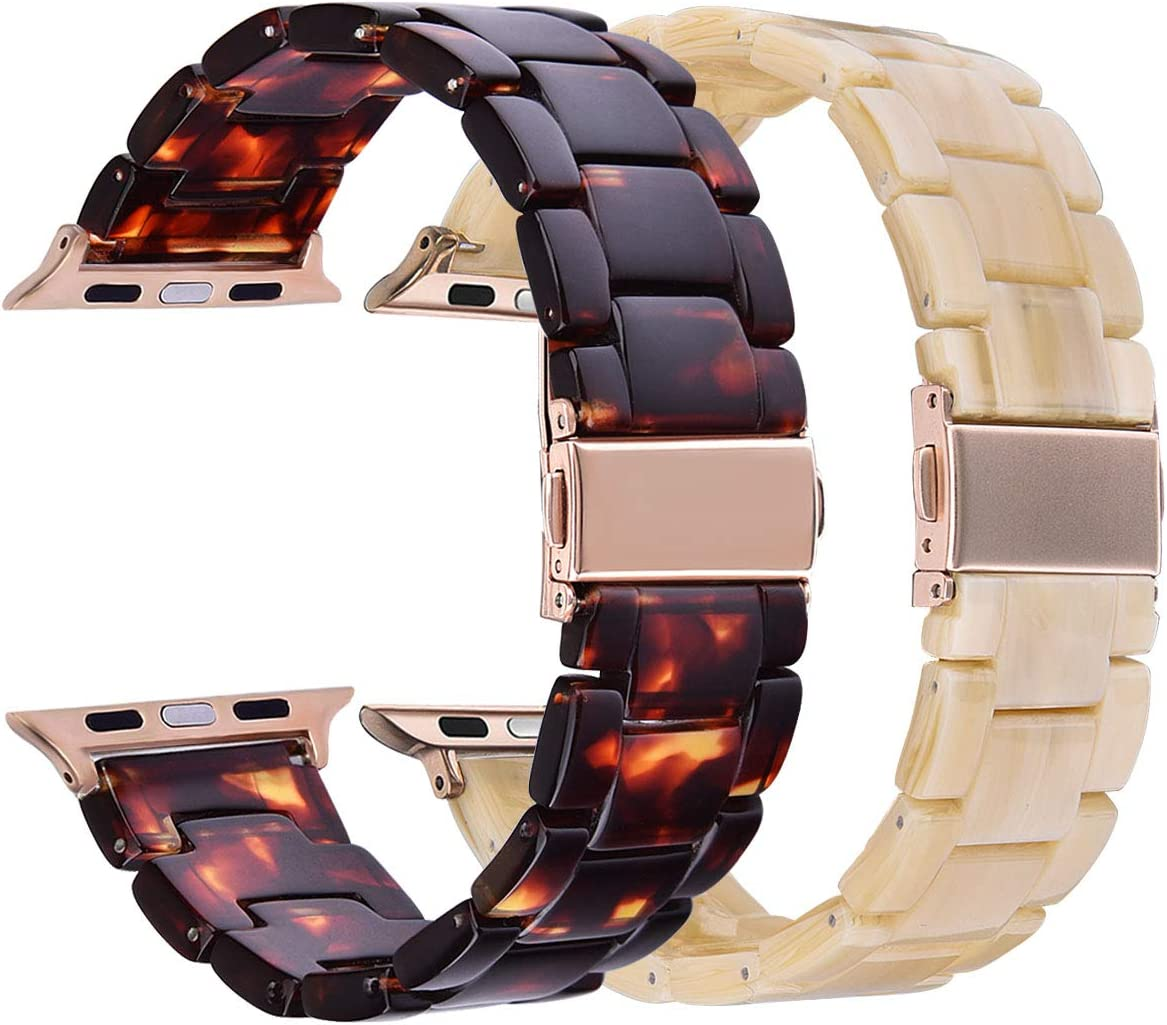 V-MORO Resin Band Sets Compatible with Apple Watch Band 38mm 40mm Series 5/4/3/2/1 with Stainless Steel Buckle Copper Replacement Wristband Strap Women Men (Tortoise+Light Cream, 38mm)