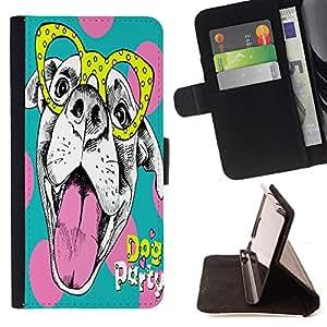 Skull Market - FOR HTC One M9 - the lovely dog - Caja de la carpeta del tir¨®n del cuero de la PU [con ranuras para tarjetas y cierre de solapa magn¨¦tica] P¨¢rese cubierta de la caja