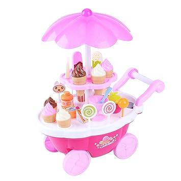 STOBOK 1 Juego de simulación para niños Caramelo Helado Carrito Mini empujador Coche de Juguete Caramelo Helado supermercado música niños pretenden Jugar ...