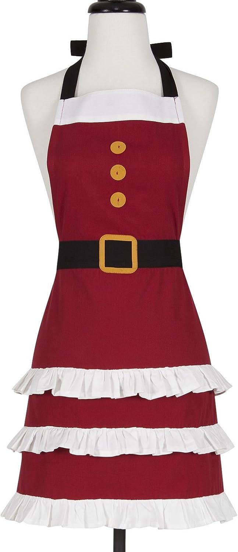 KAF Home Adult's Hostess Apron, Mrs. Claus, Adjustable Fit & Machine Washable